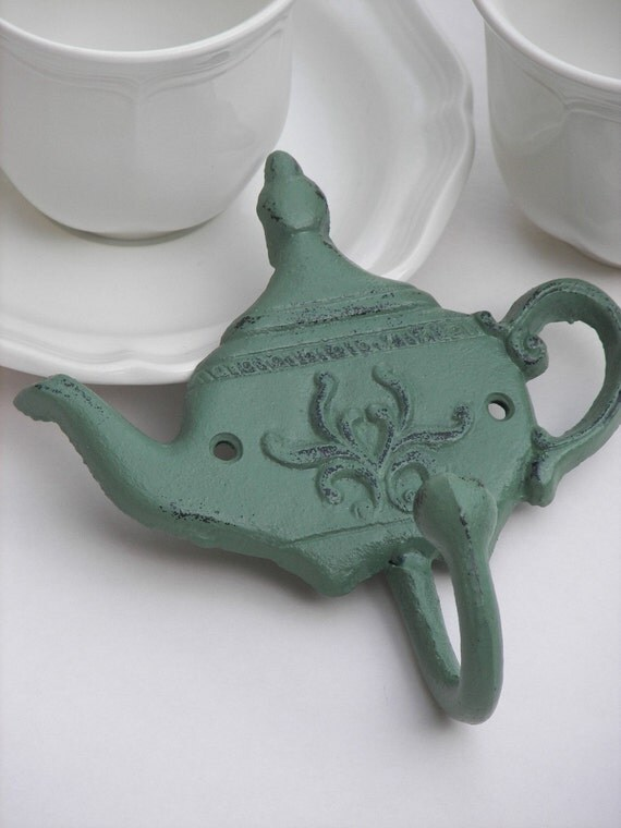 Sage cast iron teapot wall hook by fourrdesigns on etsy - Elephant cast iron teapot ...