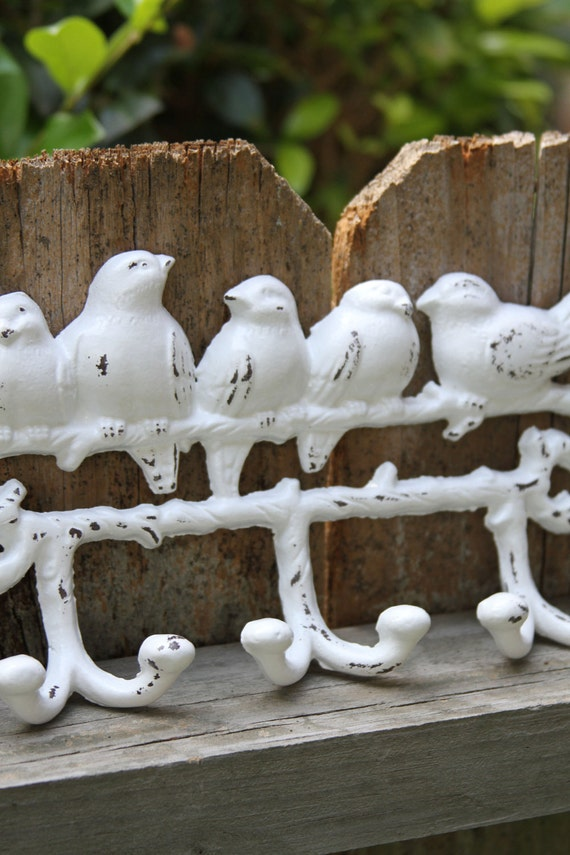 Cast Iron Birds on a Branch Wall Hook, White, Distressed, Shabby Chic, Six Hooks