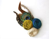 SALE Hair Clip Silk Rosette Couture Flowers Trio Roses Chartreuse Glory Peacock Blue Latte Cream Peacock Feathered