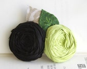 Rosette Hair Clip Silk Black and Apple Green Duo with leaves hair clip