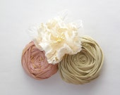 Silk Roses and French Flower Brooch Pin Organic Straw and Antique Pink