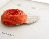 Bright Orange Rosette Brooch Pin with Leaf