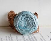 Sky Blue Silk Rosette and Rustic Copper Lace Bracelet