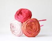 RESERVED Rosette Headband Silk Rosette Hair Band Grapefruit Red, Dusty Pink and Summer Glow Orange Silk Fabric Flowers Ribbon Headband