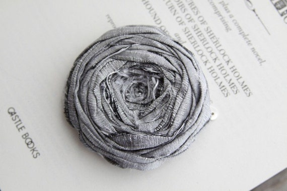 Large Metallic Silver Silk Rosette Hair Clip