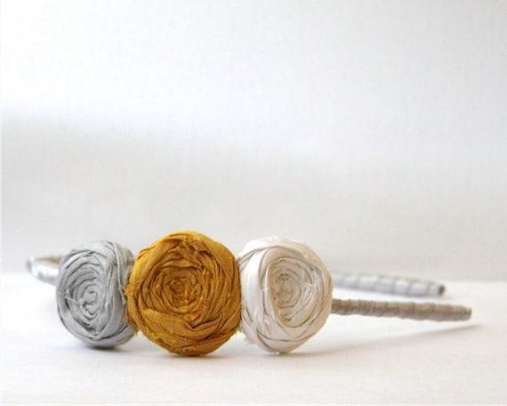 Rosette Headband Silk Silver Grey, White and Gold SilkTrio Flower Ribbon Wrapped Headband