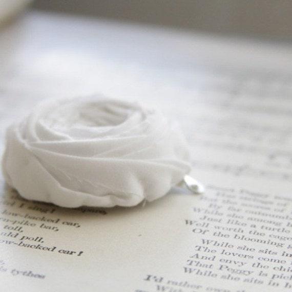 Simple White Rosette Hair Clip