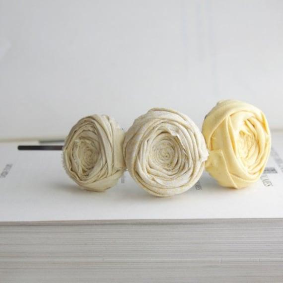 SALE Rosette headband Yellow Cottons and Silk in pretty shades of yellow Rosette Headband Flower Hairband
