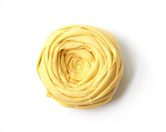 Rosette Brooch Pin Daffodil Yellow Cotton Flower Broche 2.25 inches