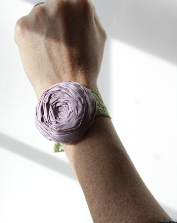 Rosette Bracelet Stretch Lace Margarita Green Lace and Lilac Purple Flower Stretch Cuff Rosette Bridal Wedding or Just Because 2 inch