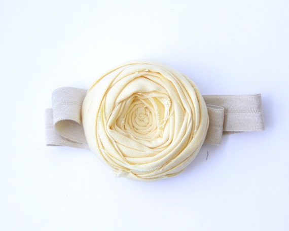 Rosette Stretch Headband Yellow Cotton Rose Flower 2.25 inch