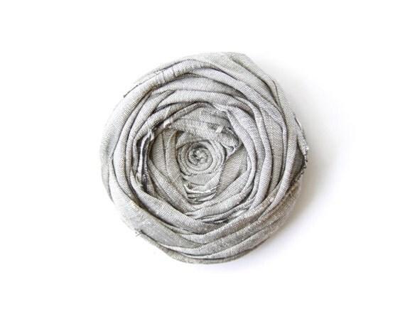 Rosette Brooch Pin Dove Grey Silk Rosette Flower Pin Rosette Wedding or just because Brooch Pin 2.5 inch