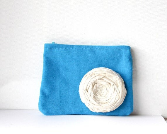 SALE Rosette Coin Purse Bright Turquoise Blue Canvas  Clutch with Removable Ivory Silk Rose Brooch Pin