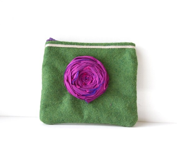 SALE Couture Rosette Mini Purse Coin Credit Card or whatever Couture Silk Rosette Felt and French detailing