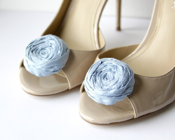 Rosette Shoe Clips Blue Silk Flower Shoe Clips with Bluette Clips 1.75 inches