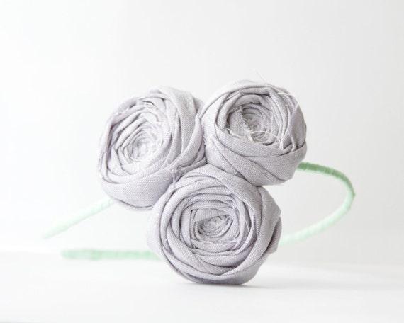 SALE Brydferth Rosette Couture Headband Lilac Linen Rose Flower Trio and Mint Green Headband Garden Party BBQ Chic