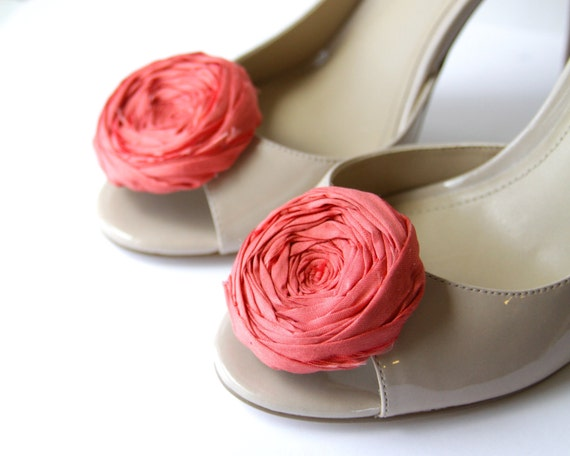 Rosette Shoe Clips Sunset Orange Silk Flower Shoe Clips with Bluette Clips Bridal Party Designer Shoe Accessory Wedding Beyond 2.25 inches