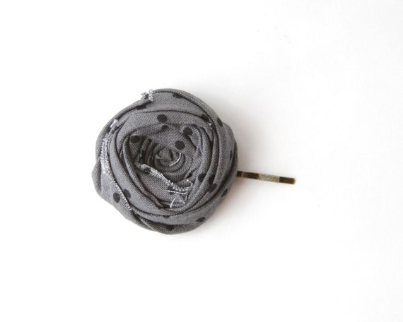 Rosette Bobby Pin Gray and Black Polka Dot Rosette Spotted Dotted Charcoal Gray Flower Hair Pin 1.5 inch
