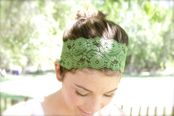 Couture Headdress Stretch Lace Headband Wide Earthy Green Chic Stretch Lace Headband 2.75 inch Headdress Turban Crown Indie Boho