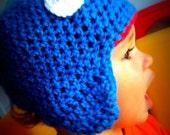 Grover Inspired Child's Handmade Crochet Earflap Beanie Hat - MADE TO ORDER