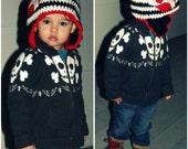 I HEART Mom Chunky Crochet Child's Beanie Earflap Cap Made To Order