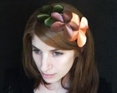 Fascinator, romantic floral vintage flair headband, with copper brown leather, green and peach/ orange satin flowers