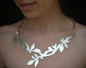 SALE Necklace Andromeda -Twig leather necklace, branch and leaves made of champagne gold color genuine leather