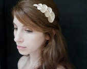 Grecian Hair Comb, leaves and pearl berries in ivory champagne colors.