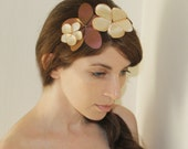 ON SALE Elpis - Vintage flair floral headband, in shiny copper brown leather  and ivory cream color satin