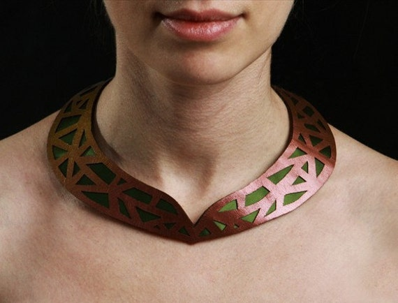 SALE- Geometric statement necklace with cut out patterned leather, (sheen brown/copper color leather with green satin)