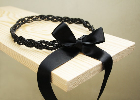 Black braided Halo, goddess headband and necklace with a black satin bow closer