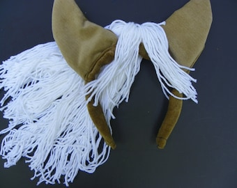 Brown and White Horse Mane Headpiece