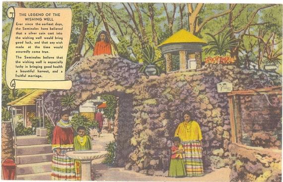 Vintage Florida Postcard - Miami - Seminole Indians Legend Wishing Well Tropical Hobbyland