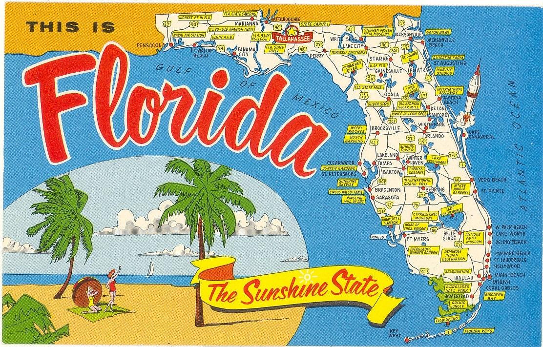 Vintage Florida Postcard Sunshine State Map