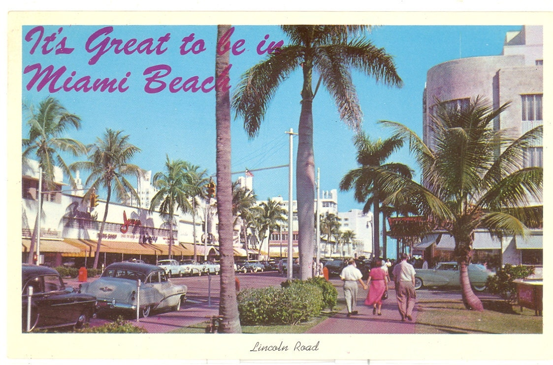 Road Signs For Sale >> Vintage Florida Postcard Miami Beach Lincoln Road