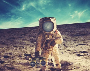 Astronaut 8x10 fine art print. Surreal astronaut on moon with boombox. Collage Print. Montage. NASA