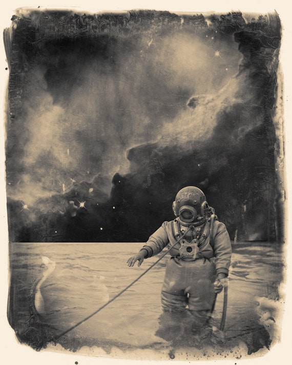 Surreal space print. Uncharted Waters 8x10 fine art surreal collage montage manipulation print