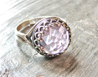 Blackbird Antiqued Sterling Silver and Amethyst Ring