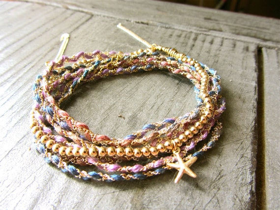 Multi Strand Bohemian Bracelet with Variegated Hand Dyed Thread, Sterling Silver, and Gold Filled Chain