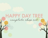 Premade Shop Set, Etsy Banner, Business Card, Avatar, Reserved Listing, and Thank-you Card Tree Vintage Seventies Polka Dots Sky Clouds