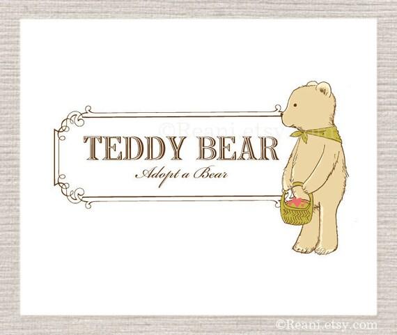 Custom Premade Logo Design - Teddy Bear Basket Vintage Mustard Green By ReaniDesigns on Etsy