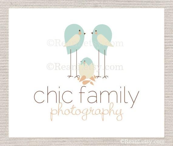OOAK Premade Logo Design - Never Resold - Birds Nest Egg Blue Chic Chick Family and Flower by ReaniDesigns on Etsy