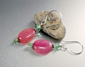 Pink Morganite Earrings Swarovski Crystal Sterling Silver Handmade Dangle Rose Green Earrings