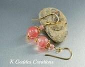 Cherry Quartz Earrings Gold Vermeil Pink Gemstone Dangle Drop Earrings