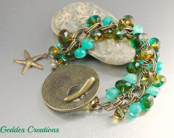 Aqua Czech Glass Bracelet Earrings Antique Brass Chain Bracelet Earrings Starfish Charm Chunky Blue Teal
