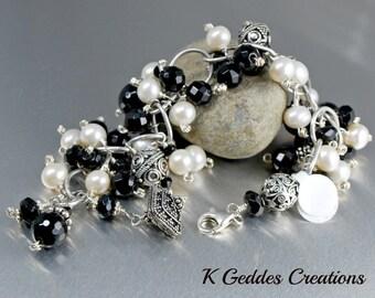 Black Gemstone Statement Bracelet White Freshwater Pearls Bali Sterling Silver Chunky Wire Wrapped Black White Bracelet SALE