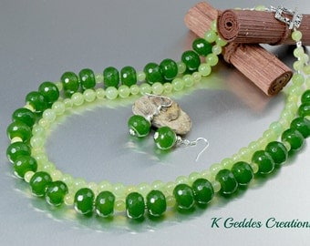 Green Aventurine and Jade Necklace Earring SET, Sterling Silver, Green Gemstone, Double Strand, Jade Statement Necklace, SALE