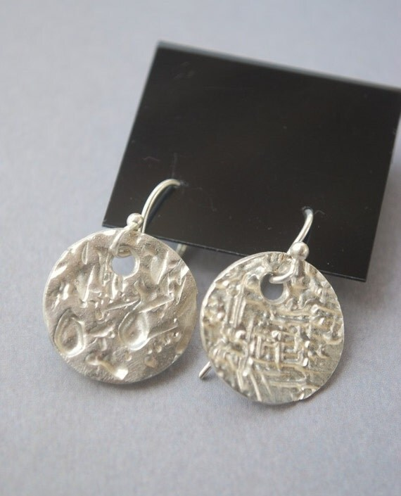 Earrings Fine Silver Textured Discs PMC Precious Metal Clay Handmade Shop Super Sale