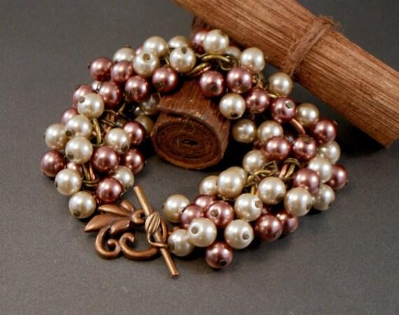 Copper Brass Pearl Bracelet Chunky Pearl Cluster Bracelet Beige Brown Earth Tones Fall Fashion