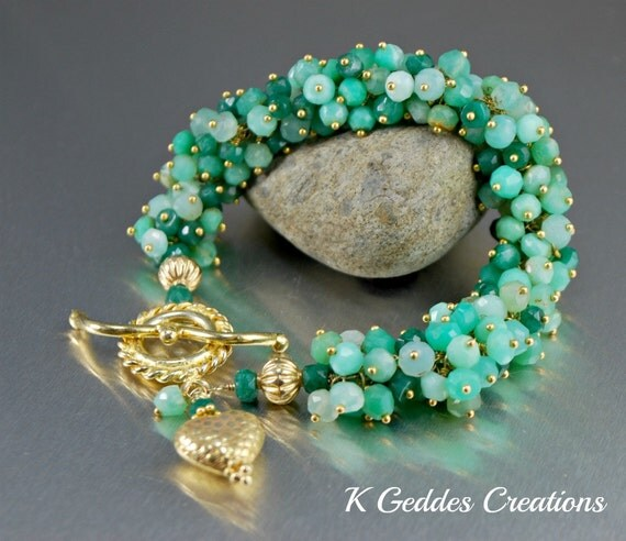 Emerald Chrysoprase Bracelet, Wire Wrapped, Gold Emerald Cluster Bracelet, May Birthstone, Emerald Green, Luxury